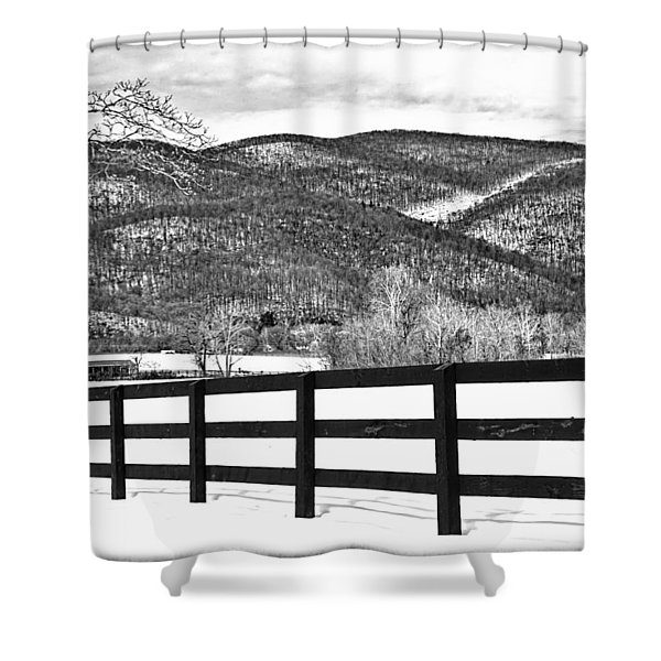 Shower Curtain featuring the photograph The Fenceline B W by Jemmy Archer