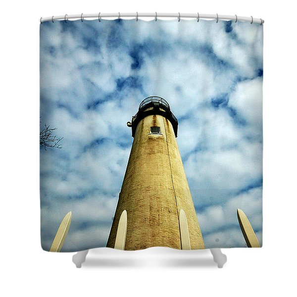 The Fenwick Light And A Mackerel Sky Shower Curtain