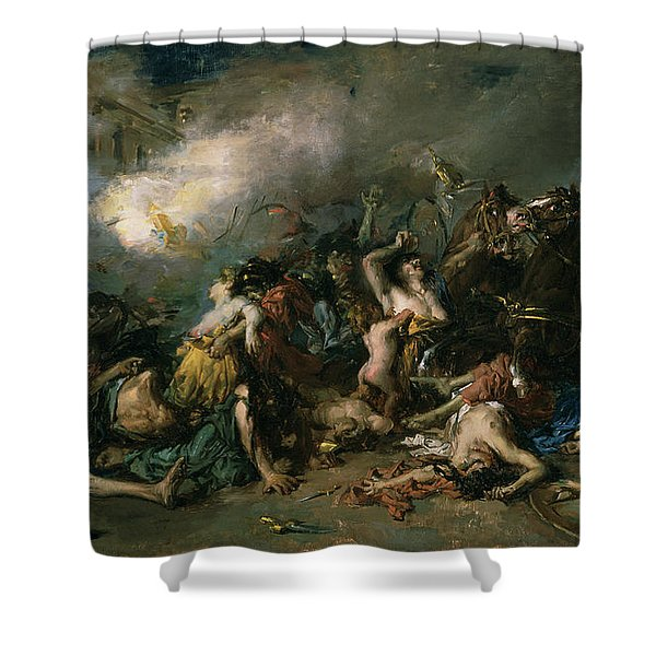 The Final Day Of Sagunto In 219bc, 1869 Oil On Canvas Shower Curtain