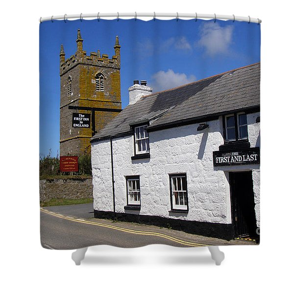 The First And Last Inn In England Shower Curtain by Terri  Waters