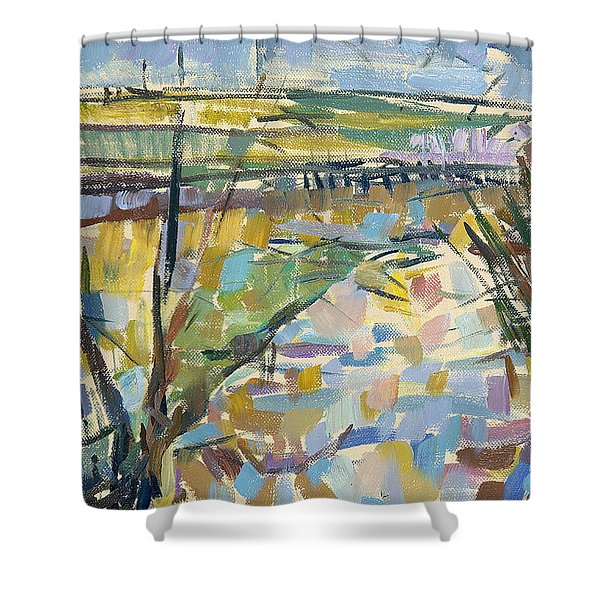 The Flooded Cherwell From Rousham I Oil On Canvas Shower Curtain