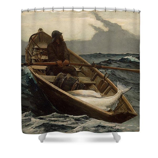 The Fog Warning .halibut Fishing Shower Curtain