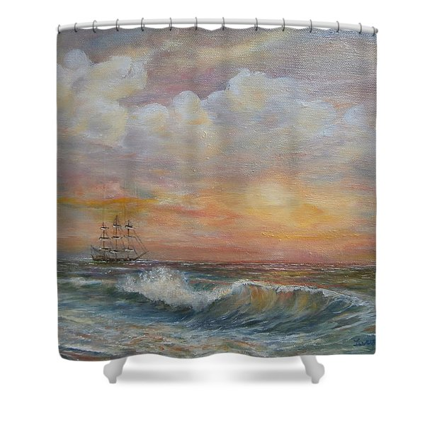 Sunlit  Frigate Shower Curtain