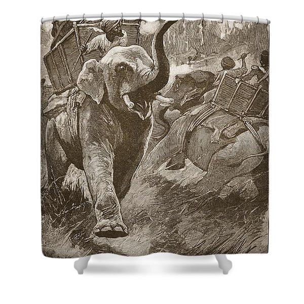 The Frightened Elephants Rushed Back Shower Curtain