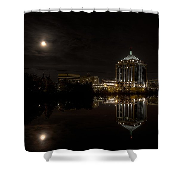 The Full Moon Over The Dudley Tower Shower Curtain