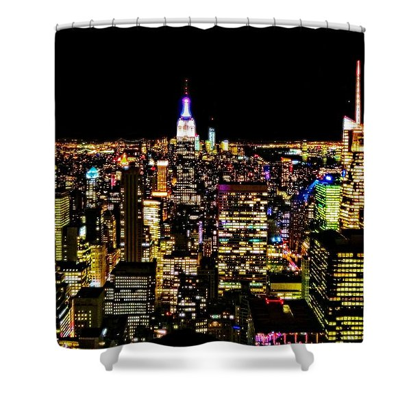 The Glow Of The New York City Skyline Shower Curtain