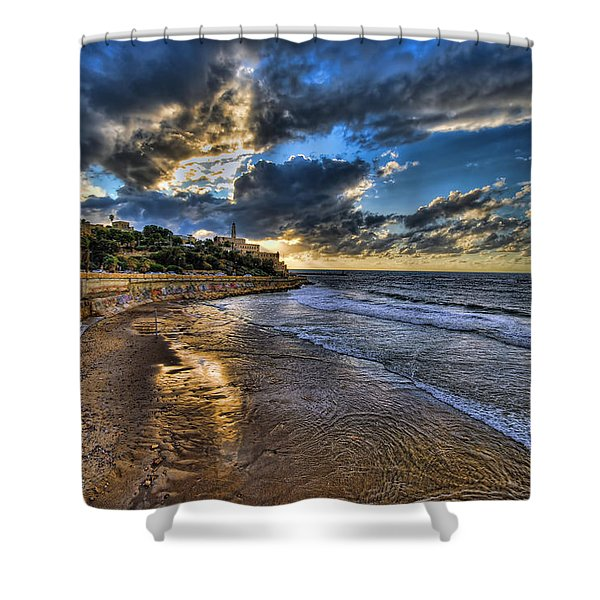 the golden hour during sunset at Israel Shower Curtain