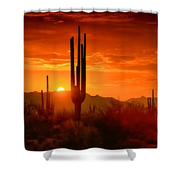 The Golden Southwest Skies  Shower Curtain