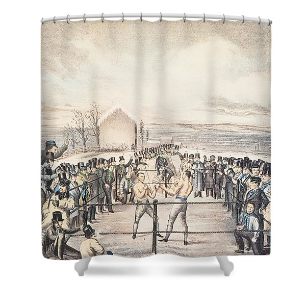 The Great Fight Between Tom Hyer And Yankee Sullivan Shower Curtain