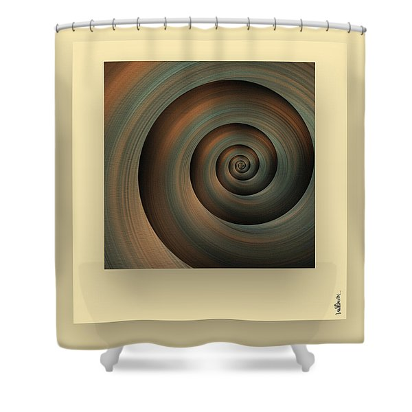 Shower Curtain featuring the digital art The Green Spiral by Mihaela Stancu