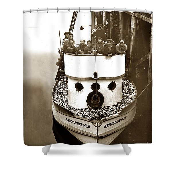 The Happy Crew Of The Fishing Boat  Geraldine- Ann Monterey California 1939 Shower Curtain