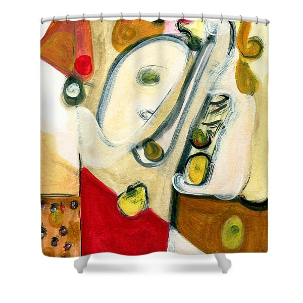 The Horn Player Shower Curtain