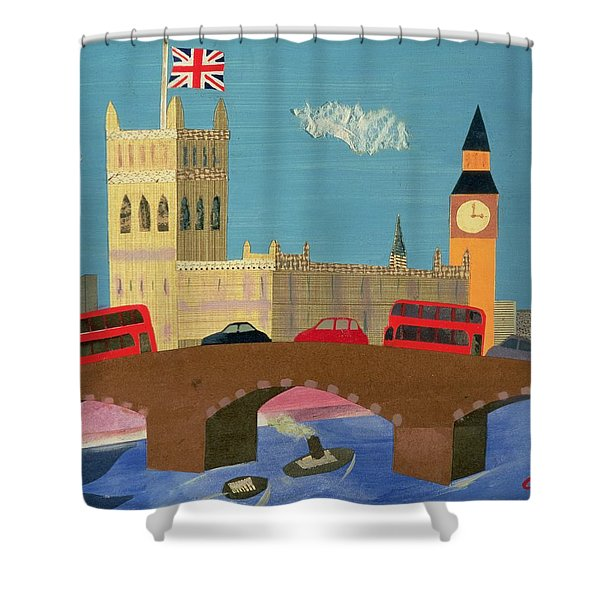 The Houses Of Parliament Collage Shower Curtain