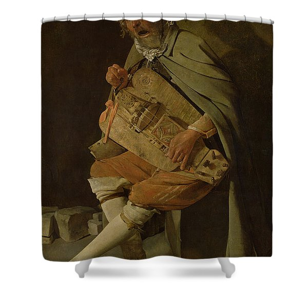 The Hurdy Gurdy Player Shower Curtain