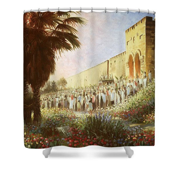 The King Is Coming  Jerusalem Shower Curtain