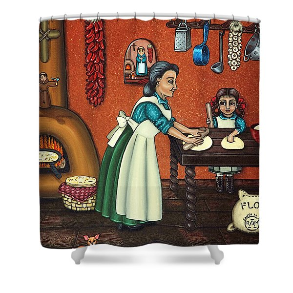 The Lesson Or Making Tortillas Shower Curtain