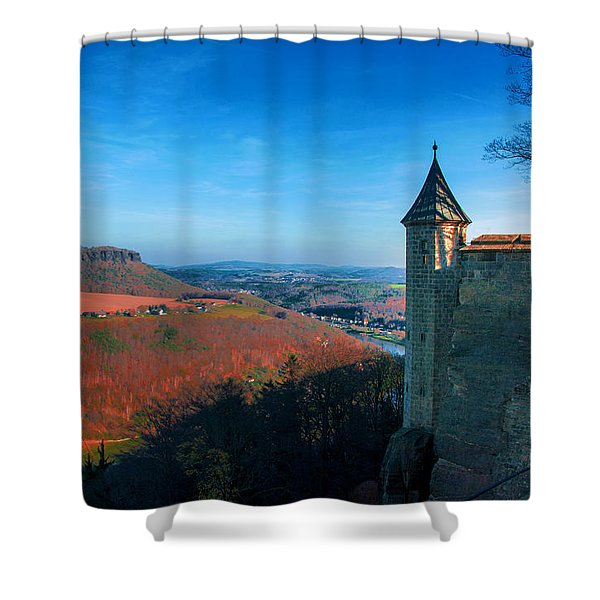 The Lilienstein Behind The Fortress Koenigstein Shower Curtain