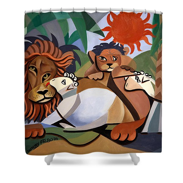 Shower Curtain featuring the painting The Lion And The Lamb by Anthony Falbo