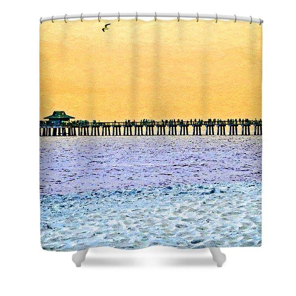 The Long Pier - Art By Sharon Cummings Shower Curtain