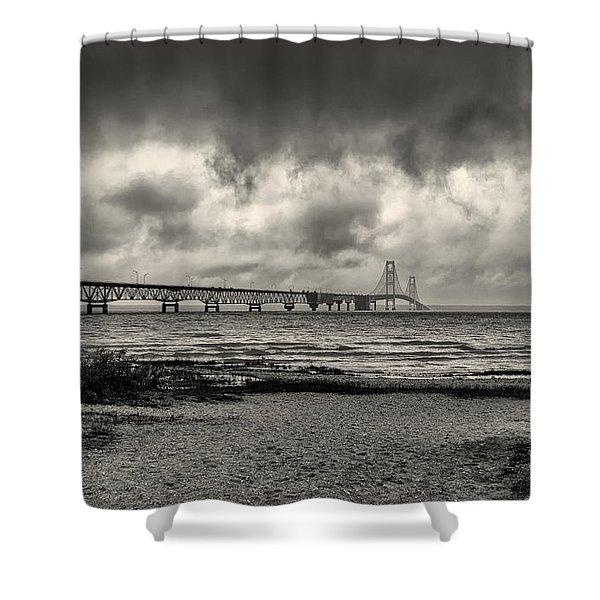 The Mackinac Bridge B W Shower Curtain