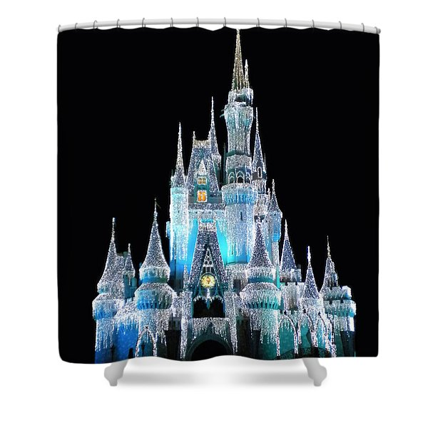 The Magic Kingdom Castle In Frosty Light Blue Walt Disney World Shower Curtain