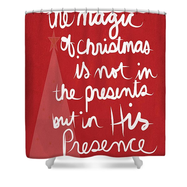 The Magic Of Christmas- Greeting Card Shower Curtain