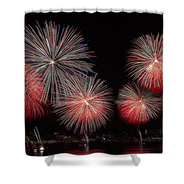 The New York City Skyline All Lit Up Shower Curtain