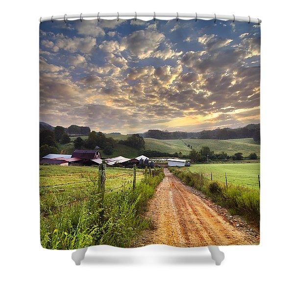 The Old Farm Lane Shower Curtain