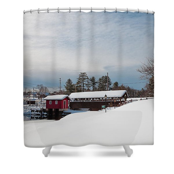 The Old Forge Covered Bridge Shower Curtain