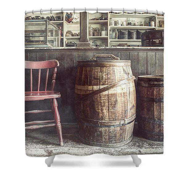 The Old General Store - Red Chair And Barrels In This 19th Century Store Shower Curtain