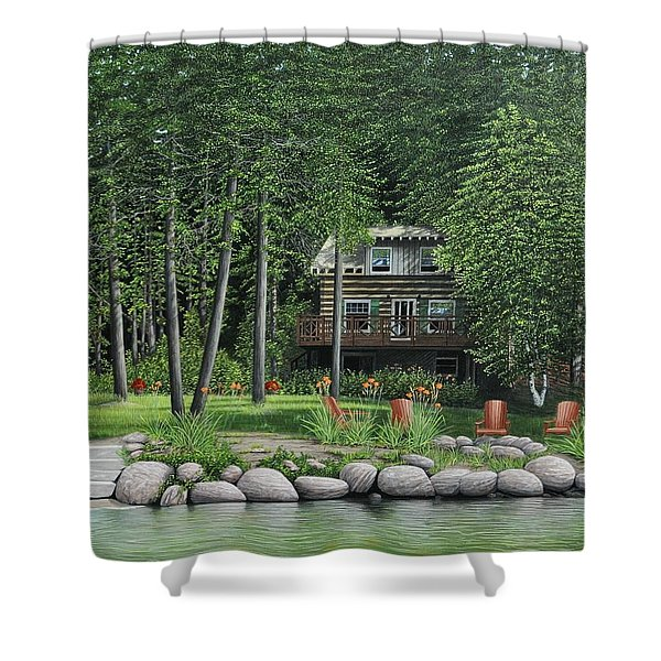 The Old Lawg Caybun On Lake Joe Shower Curtain