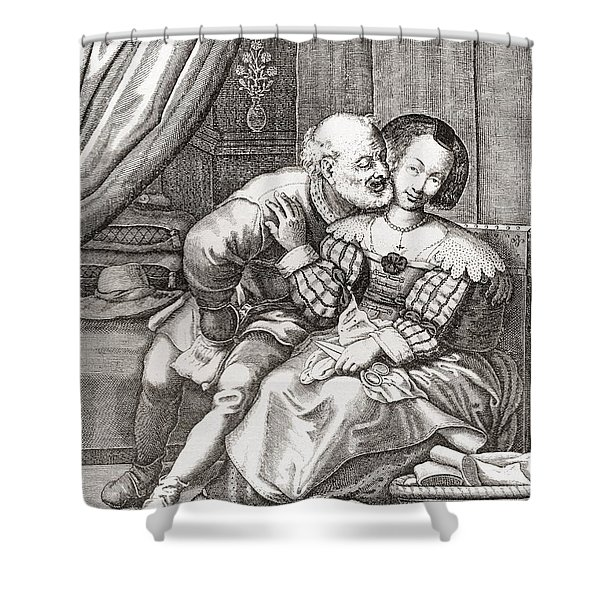 The Old Prurient, After A 16th Century French Engraving By Jaspar Isaac.   From Illustrierte Shower Curtain