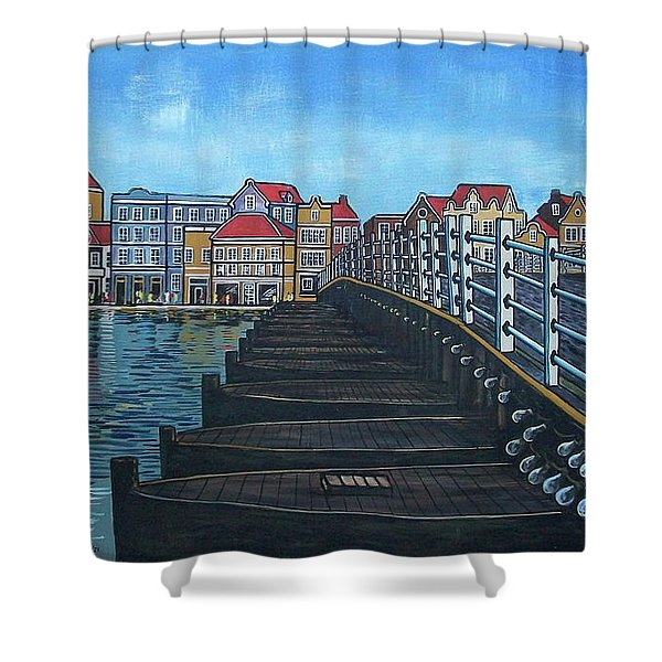 The Old Queen Emma Bridge In Curacao Shower Curtain