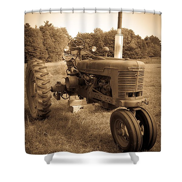 The Old Tractor Sepia Shower Curtain
