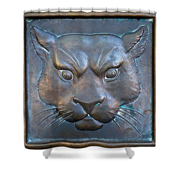 The Original Todd Hall Cougar Door Pulls - Washington State University Shower Curtain