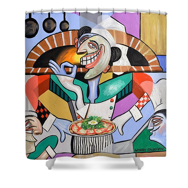 Shower Curtain featuring the painting The Personal Size Gourmet Pizza by Anthony Falbo