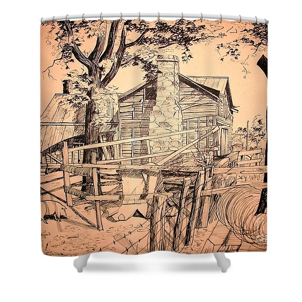 The Pig Sty Shower Curtain