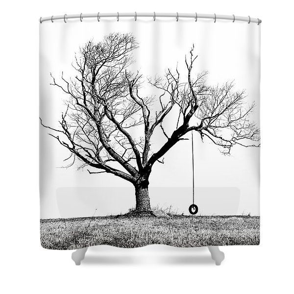 The Playmate - Old Tree And Tire Swing On An Open Field Shower Curtain