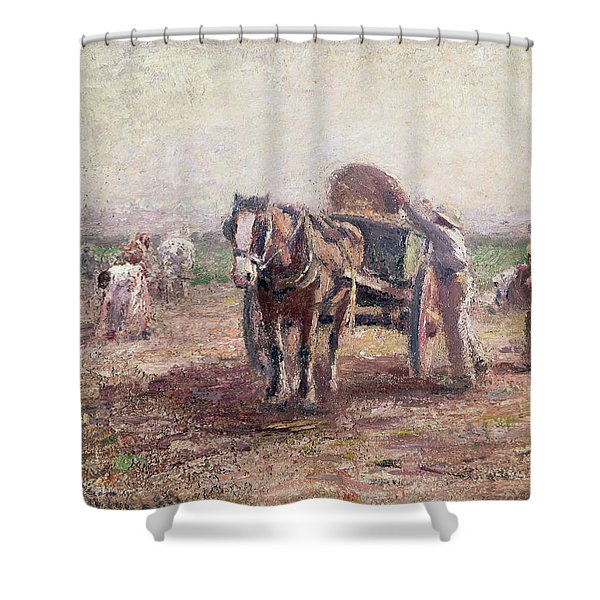 The Potato Pickers Shower Curtain