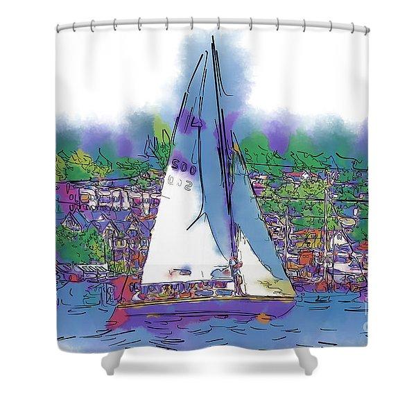 The Purple Sailboat Shower Curtain