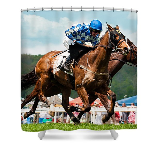 Shower Curtain featuring the photograph The Race Is On by Robert L Jackson