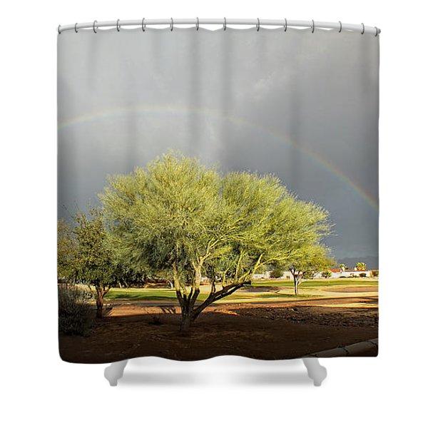 The Rain And The Rainbow Shower Curtain