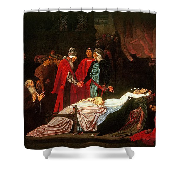 The Reconciliation Of The Montagues And The Capulets Over The Dead Bodies Of Romeo And Juliet Oil Shower Curtain