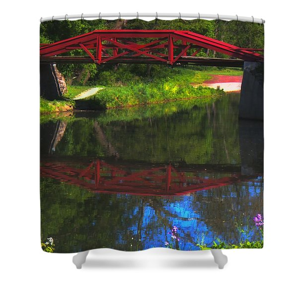 The Red Bridge Shower Curtain