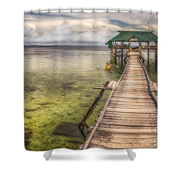 The Rickety Pier Shower Curtain