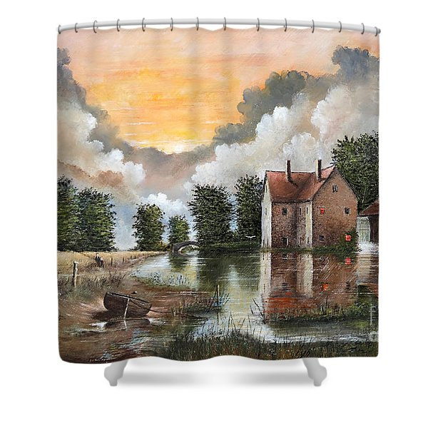 Shower Curtain featuring the painting The River Gripping by Ken Wood