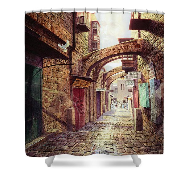 The Road To The Cross  Jerusalem Shower Curtain