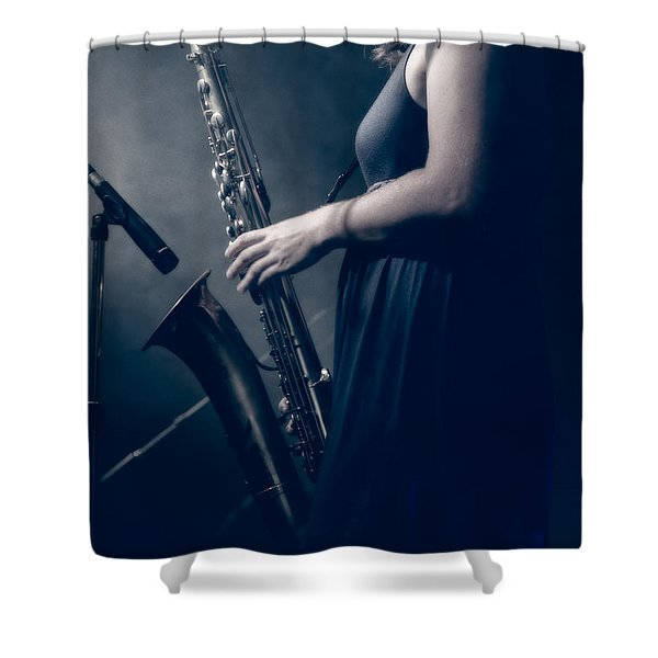 The Saxophonist Sounds In The Night Shower Curtain