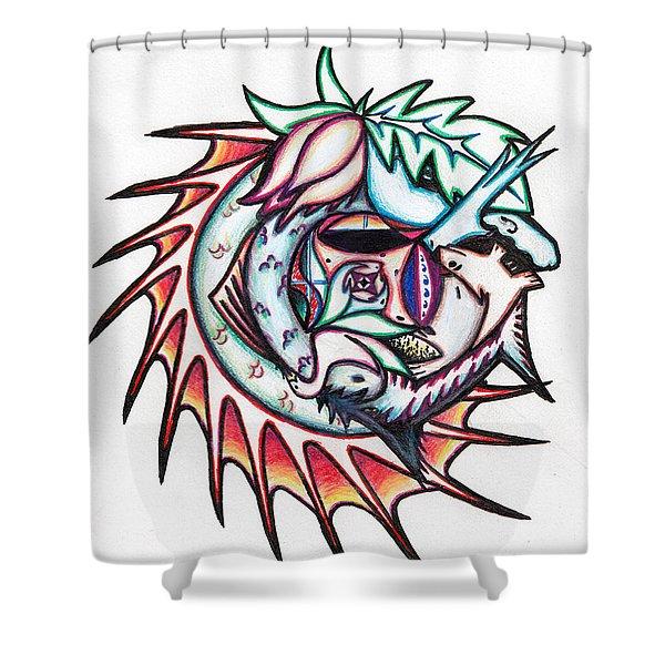 The Seahorse Mosaic Shower Curtain
