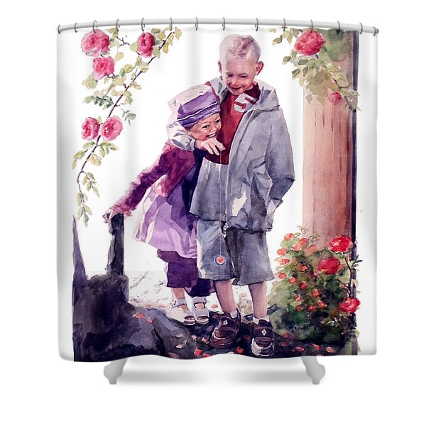 Watercolor Of A Boy And Girl In Their Secret Garden Shower Curtain